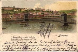 Budapest, Lánchíd és budai látkép, gőzhajó, litho (EB)