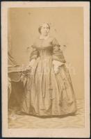 cca 1860 Csaby Anna vizitkártya méretű, feliratozott fotója, Langerer bécsi műterméből, 6,5x10 cm
