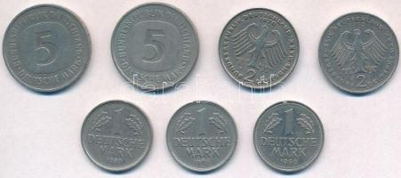 NSZK 1965-1992. 1M (3xklf) + 2M (2xklf) + 5M (2xklf) T:2,2- FRG 1965-1992. 1 Mark (3xdiff) + 2 Mark (2xdiff) + 5 Mark (2xdiff) C:XF,VF