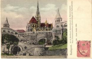 Budapest I. Királyi vár, az új díszlépcső és Mátyás templom, kiadja Ganz Antal No. 200., TCV card (EK)