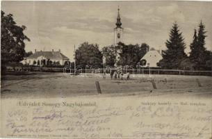 Nagybajom, Somogynagybajom; Sárközy kastély, református templom, Steiner Ignác és fia kiadása (fa)