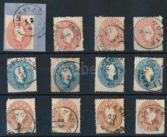 1861 12 db bélyeg olvasható bélyegzésekkel
