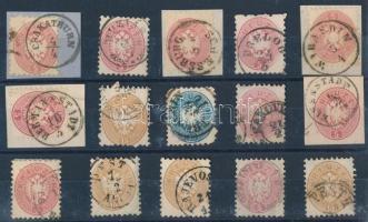 1864 15 db bélyeg olvasható bélyegzésekkel