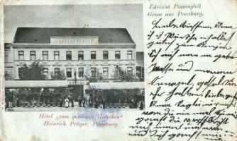 1899 Pozsony, Pressburg, Bratislava; Hotel zum goldenen Hirschen / Szarvas-szálló, Heinrich Prüger, M. Freistadt kiadása / hotel (b)