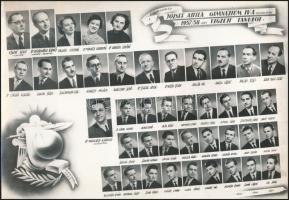 1958 Székesfehérvár, József Attila Gimnázium tanári kara és végzett növendékei, kistabló 42 nevesített portréval, 20,5x30 cm