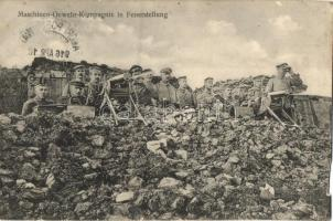 Maschinen-Gewehr-Kompagnie in Feuerstellung / WWI German machine gun troops in firing position, artillery, III. Bayrischen Armeekorps, K.u.K. Schwere Haubitzdivision Nr. 12 (b)