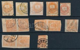 1880-as évek 5 db + 1910-es évek 8 db Hírlapilleték bélyeg