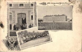 Linz an der Donau, Alte K. u. K. Landwehr Infanterie Kaserne, Verlag E. Mareis / military barracks, Austro-Hungarian soldiers (ázott sarkak / wet corners)