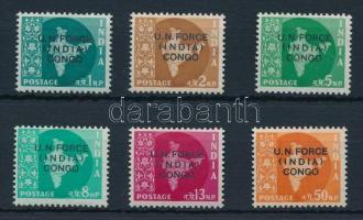 1962 Hivatalos bélyegek a Kongóban tartózkodó indiai rendőri erők részére sor Mi 1-6