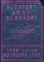 1938 Rendszeres járat Budapest-Arad-Bukarest levélzáró (jobb felső sarok hiányzik)