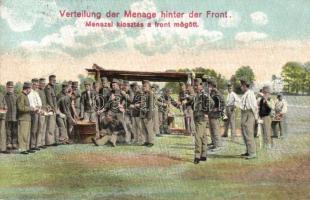 Verteilung der Menage hinter der Front / Első világháborús K.u.K. menázsi kiosztása a front mögött / Menage distribution behind the front, K.u.K. Schwere Haubitzdivision No. 12 Batterie No. 2 (EK)