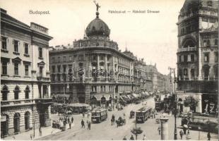 Budapest VII. Rákóczi út, Takarékpénztár, gyógyszertár, villamosok, N. M. Bp. (EK)