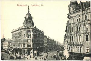 Budapest VI. Andrássy út, fiókpénztár, villamos, Taussig A. kiadása