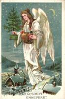 Kellemes Karácsonyi Ünnepeket / Christmas greeting postcard, angel (EK)