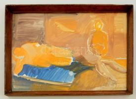 Kohán jelzéssel: Az ágyon. Vegyes technika, papír, üvegezett keretben, 27×40 cm