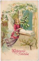 Karácsonyi Üdvözlet / Christmas greeting postcard, angel, Emb. litho (EK)