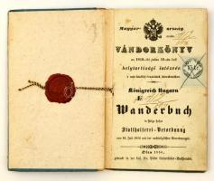 1856 Vándorkönyv, német-magyar nyelven, bejegyzésekkel, viaszpecséttel, okmánybélyeggel