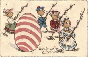 Boldog húsvéti ünnepeket / Easter greeting postcard, chickens, B. K. W. I. 1127. (fa)