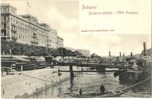 Budapest V. Hungária szálloda, rakpart, M.G.T. állóhajó, gőzhajók, csónak, Kanitz C. és Fiai kiadása (EK)