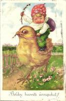 Boldog húsvéti ünnepeket / Easter greeting postcard, chickens, HACO No. 6870 (EK)