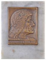 Pátzay Pál (1896-1979) DN. Mathias Rex Hungaria préselt réz plakett márványlapon, hátoldalán filc talppal és LUDWIG ÉREMVERŐ gyártói matricával (78x61mm) T:1-