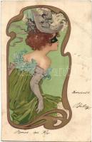 Lady, art postcard, golden decorated litho (lyuk / hole)