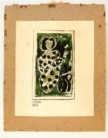 Kádár jelzéssel: Hölgy pöttyös ruhában. Akvarell-tus, papír, 15×8 cm