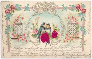 Birds, flowers, silk card, floral Emb. litho (kis szakadás / small tear)