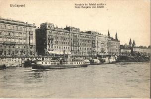 Budapest V. Hungária és Bristol szállodák, Taussig A. kiadása, gőzhajó (EK)