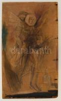 Kondor jelzéssel: Alakok. Vegyes technika, fa tábla, 50×29 cm