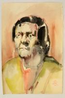AB jelzéssel: Férfi portré. Akvarell, papír, 49×34 cm