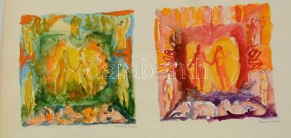 Ferenczy jelzéssel: Párok. Akvarell, papír, 15×15 cm (2×)