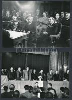 cca 1947 Tildy Zoltán, Nagy Imre és más politikusok, 4 db vintage negatívról készült későbbi nagyítás, 12,5x18 cm