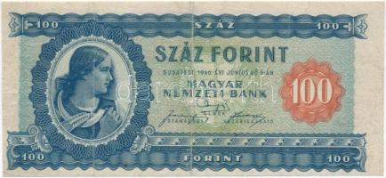 1946. 100Ft vízjeles papír T:III,III- Hungary 1946. 100 Forint watermarked paper C:F,VG Adamo F26