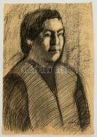 Nagy jelzéssel: Portré. Szén, papír, kis szakadással, 60×43 cm