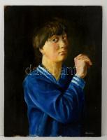 Medveczky jelzéssel: Fiú portré. Olaj, farost, 80×60 cm