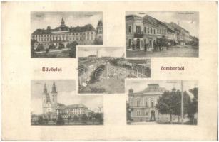 Zombor, Sombor; Vármegyeház, Kronits palota, Kossuth Lajos utca, kiadja Kaufmann Emil / county hall, palace, street (EK)