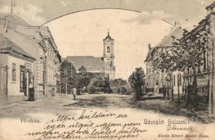 Kiskunhalas, Fő utca, templom, Kémeri Sándor kiadása (EK)