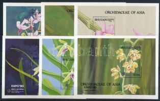 1990 Virág - Orchidea blokksor Mi 249-260