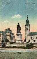 Nagyvárad, Oradea; Szent László szobor, templom / statue, church (EB)