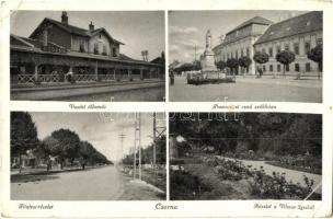 Csorna, vasútállomás, Premontrei rend székháza, főutca, Vilmos-liget, Aigner Lajos kiadása (EB)