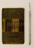 cca 1920 Addition számológép, kopott, Dentral fogorvosi szerszámmal, 12×7 cm, h:14 cm