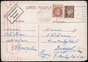 Franciaország 1 db cenzúrázott levél + 1 db levelezőlap