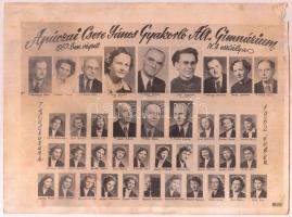 1957 Apáczai Csere János Gyakorló Ált. Gimnáziumban végzett hallgatók és tanárainak tablóképe, rajta 39 nevesített portré, kicsit megviselt állapotban, 18x24 cm.