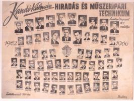 1966 Kandó Kálmán Hiradás és Műszeripari Technikum végzett hallgatóinak és tanárainak tablóképe, rajta 68 nevesített portré, kicsit megviselt állapotban, foltos, az egyik szélén gyűrődéssel, 17x23 cm.