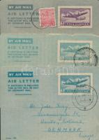 1951-1953 3 db Légi díjjegyes levél Dániába küldve