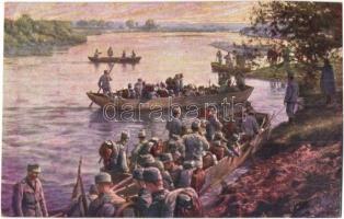 Első világháborús K.u.K. csapatok áthajózása a Wieprz folyón / WWI K.u.K. troops navigate through the Wieprz river (wet corner / ázott sarok)