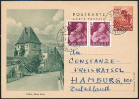 1962 Díjjegyes díjkiegészített levelezőlap Hamburgba küldve