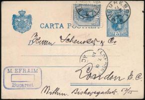 1897 Dííjegyes díjkiegészített levelezőlap Bukarestről Londonba küldve