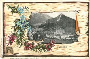 Újhegy, Neuberg; látkép / general view, Verlag Josef Feik, decorated floral litho s: E. Döcker (EM)